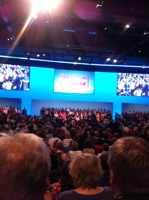 Ed M speaking at the Labour Party Conference